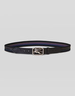 COTTON AND LEATHER BELT WITH PEGASO