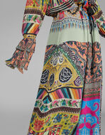 パッチワークプリント ロングドレス
