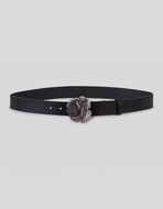 LEATHER BELT WITH ROSE-SHAPED BUCKLE