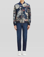 JACQUARD TECHNICAL FABRIC BOMBER JACKET WITH HERONS
