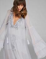 レース刺繍 シルクドレス