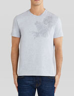 COTTON T-SHIRT WITH PAISLEY PLANT EMBROIDERY
