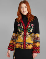 JACQUARD KNITTED JACKET WITH INTARSIA