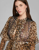 BLOUSE WITH ANIMAL-PRINT PATCHWORK PRINT
