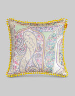 SATIN CUSHION WITH PAISLEY DECORATIONS