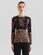 フローラルプリント ウール セーター