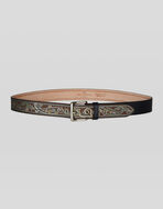 PAISLEY PATTERN LEATHER BELT