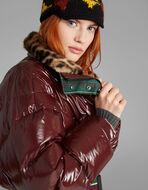 环保毛皮衣领长款羽绒夹克
