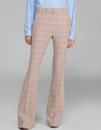 CHECK FLARED TROUSERS