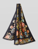 FLORAL CASHMERE AND SILK SCARF
