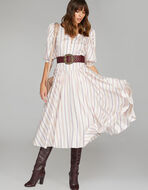 STRIPED JACQUARD SILK DRESS