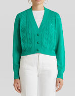 CARDIGAN IN COTTON WITH CABLE PATTERN