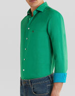 LINEN SHIRT WITH EMBROIDERED PEGASO