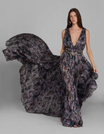 PAISLEY PRINT EVENING DRESS