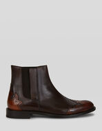 LEATHER BOOTS WITH INLAY