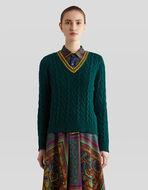 縄編み ウール セーター