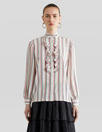 STRIPED SILK SHIRT WITH RUCHES