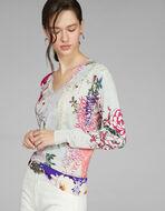 オリエンタル花柄プリント セーター