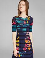 ストライプ花柄ジャカードニット ドレス