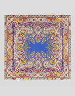 SILK SCARF WITH PAISLEY AND FLOWERS