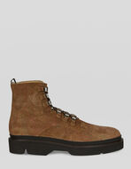SUEDE COMBAT BOOTS WITH PAISLEY PRINT