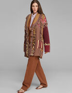 KNITTED PATCHWORK COAT WITH FRINGE