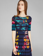 STRIPED FLORAL JACQUARD KNITTED DRESS