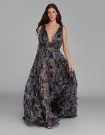 PAISLEY PRINT EVENING DRESS