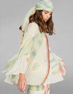树叶印花褶皱女式衬衫
