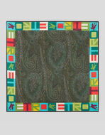 POCKET SQUARE IN PAISLEY SILK WITH ETRO LOGO