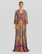 LONG FLORAL PAISLEY PRINT DRESS