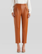 LEATHER TROUSERS WITH TUCKS