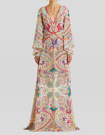LONG PAISLEY PRINT SILK DRESS