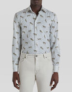动物风格印花棉质衬衫