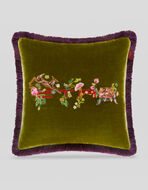 VELVET CUSHION WITH EMBROIDERY