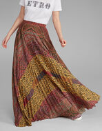 PAISLEY AND CARPET-PRINT MAXI PLEATED SKIRT