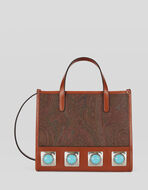 PAISLEY CROWN ME SHOPPING BAG WITH TURQUOISE STUDS