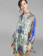 披肩印花长袖连衣裙