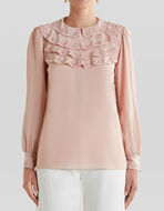SILK BLOUSE WITH RUCHES AND EMBROIDERY