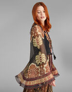 JACQUARD LONG DRESS WITH EMBROIDERY