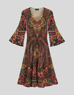 FLORAL PAISLEY WOOL DRESS
