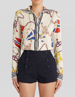 SILK AND LINEN CARDIGAN WITH MARITIME PRINT