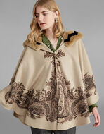 PAISLEY-PRINT CAPE WITH FUR TRIM