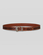 LEATHER BELT WITH LASERED PAISLEY PATTERN