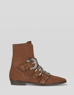 SUEDE ANKLE BOOTS WITH JEWEL BUCKLES