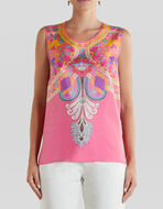 EMBROIDERY-EFFECT PRINT SILK TOP