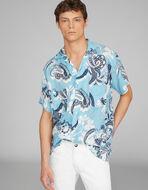 花柄プリント 半袖シャツ