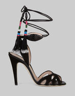 SUEDE AND AYERS SANDALS WITH TASSELS