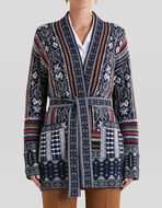 JACQUARD CARDIGAN WITH GEOMETRIC DESIGN