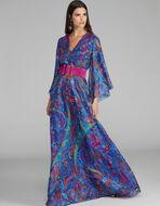 FLORAL PRINT DRESS WITH LUREX TRIM